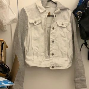 White denim jacket with grey sleeves and hood